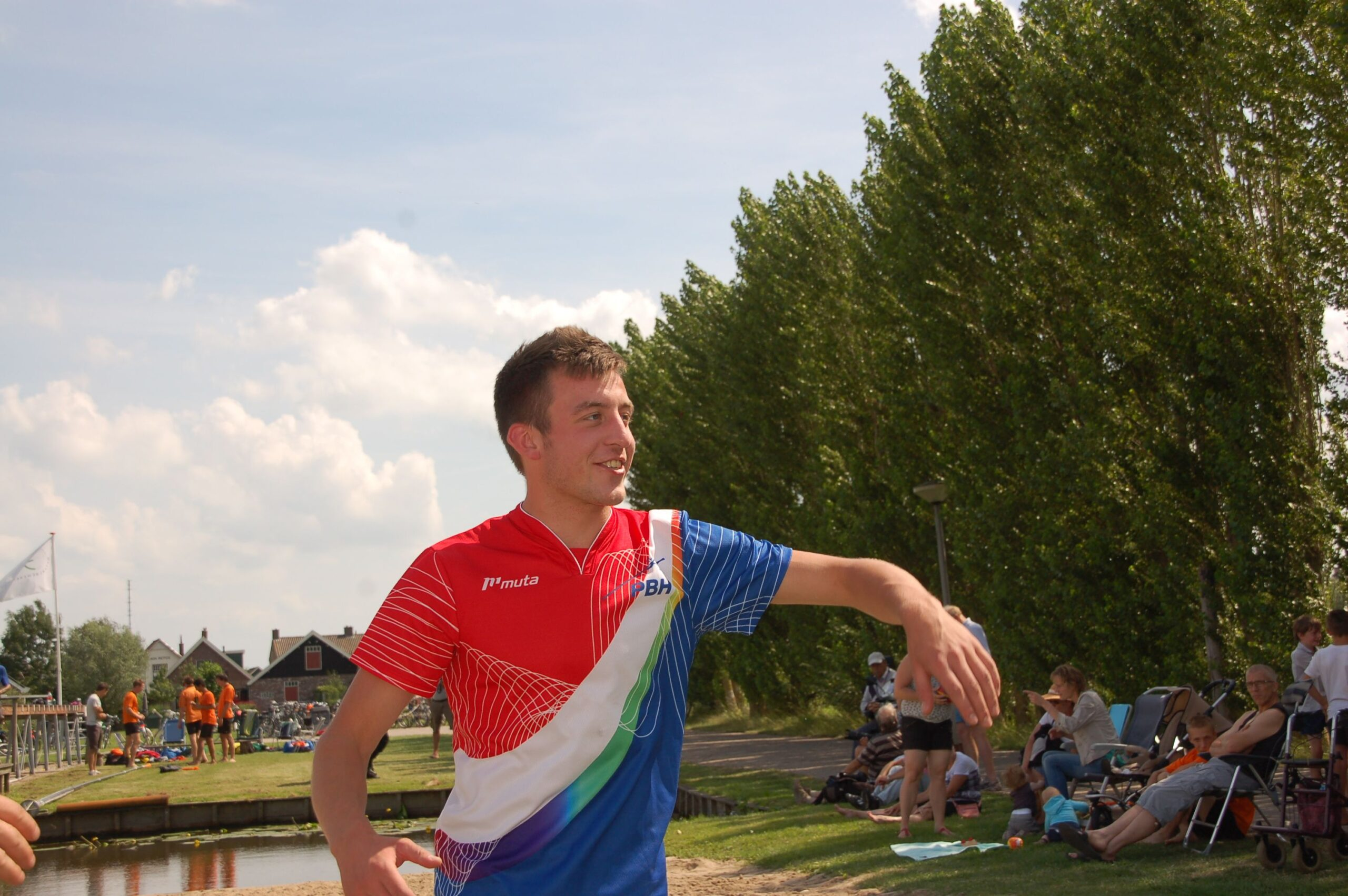 Erwin Timmerarends na zijn sprong